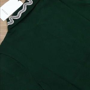 Gucci men dark green collar details polo shirts